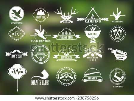 Hunting club label collecton. Vector. Elements and labels design. - stock vector