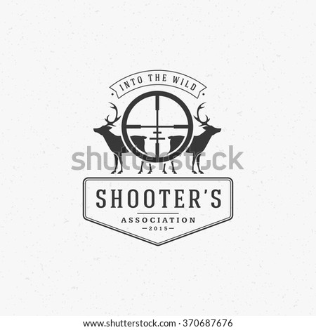 Hunting Club Logo Template. Two Deer and Riffle Silhouette Isolated On White Background. Vector object for Labels, Badges, Logos and other Design. Deer Logo, Hunter Logo, Deer Hunting, Retro Logo. - stock vector