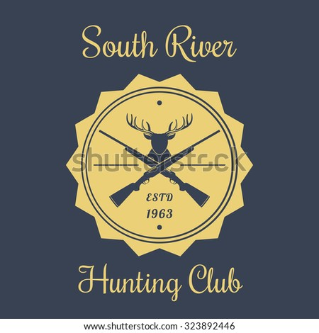 Hunting Club Vintage Emblem, Logo with deer head and rifles, vector illustration - stock vector