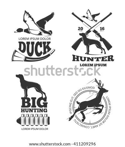 Hunting club vintage vector labels and emblems and logos, badges set. Hunting club, hunting, badge, hunting label illustration - stock vector