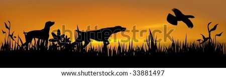 Hunting dogs with bird over sunset - stock vector