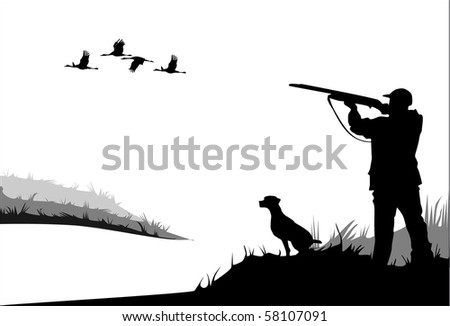 Young Man Hunting With Dog And Gun Free Clipart
