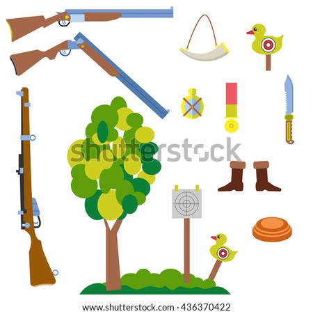 hunting equipment set with gun, sports clay pigeon, rifle, duck target and tree landscape vector illustration, in flat design style
