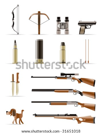 hunting icons - Vector Icon Set - stock vector