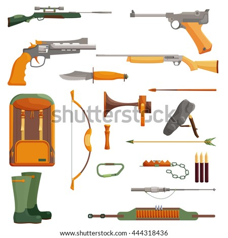 Hunting object of set. Cartoon collection shotgun and ammunition, vector illustration