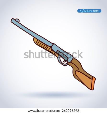 Hunting rifle hand drawn vector illustration. - stock vector