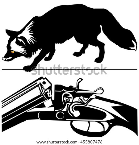 hunting rifle with silver fox (Vulpes fulva) black silhouette on the white background 