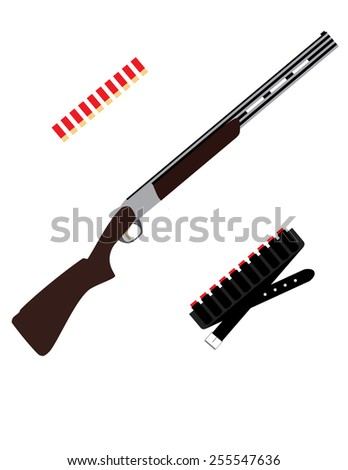 Hunting, shooting, sniper rifle and bullets, weapon vector isolated on white - stock vector