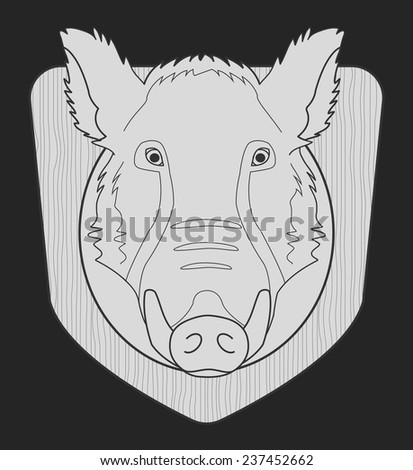 Hunting trophy. Stuffed taxidermy wild boar head with big tusks in wood shield. Chalk monochrome illustration isolated on black - stock vector