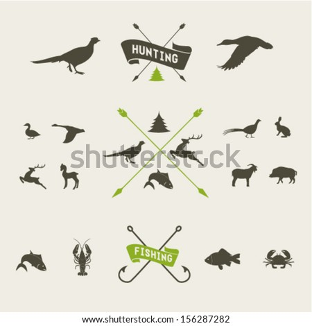 Hunting vector icon set - stock vector