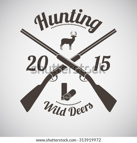Hunting Vintage Emblem. Cross Hunting Gun With Ammo and Deer Silhouette. Suitable for Advertising, Hunt Equipment, Club And Other Use. Dark Brown Retro Style.  Vector Illustration.  - stock vector