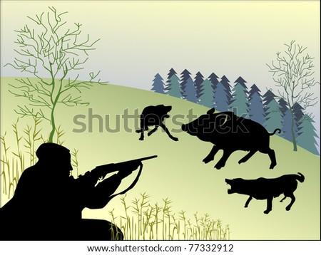 hunting wild boar - stock vector