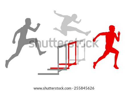 Hurdle race man barrier running vector background winner overcoming difficulties concept