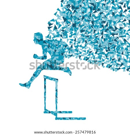 Hurdle racer man barrier running vector background. Winner overcoming difficulties concept - stock vector