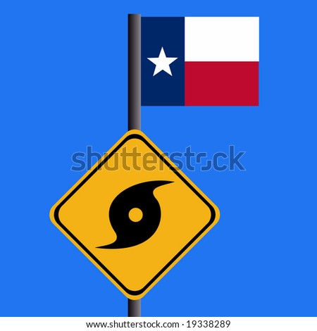 Hurricane sign and Texan flag illustration - stock vector