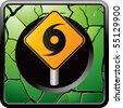 hurricane sign green cracked web icon - stock vector