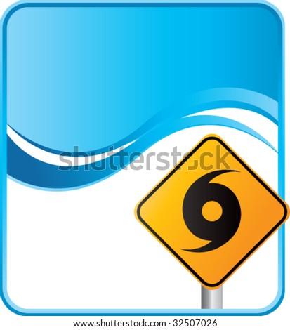 hurricane warning sign on blue background - stock vector