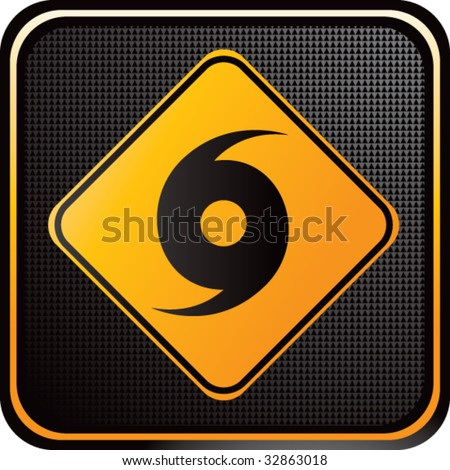 hurricane warning sign on web button - stock vector
