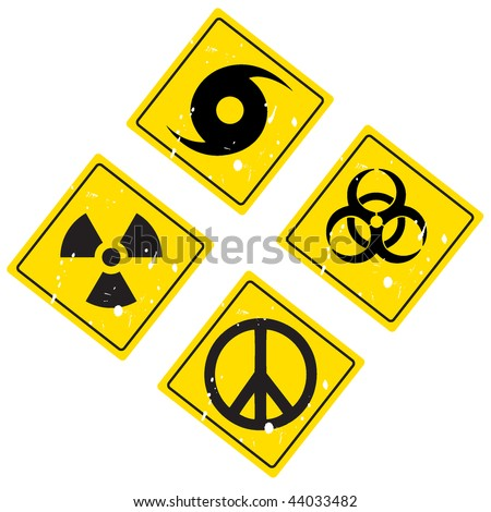 hurricane warning sign, pacific sign, radiation sign, biological sign - stock vector