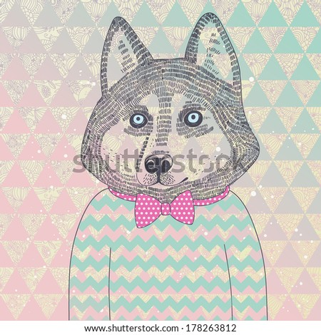Husky hipster dog. Concept cartoon illustration in modern colors. Cute dog on seamless pattern. Childish card in vector.  - stock vector