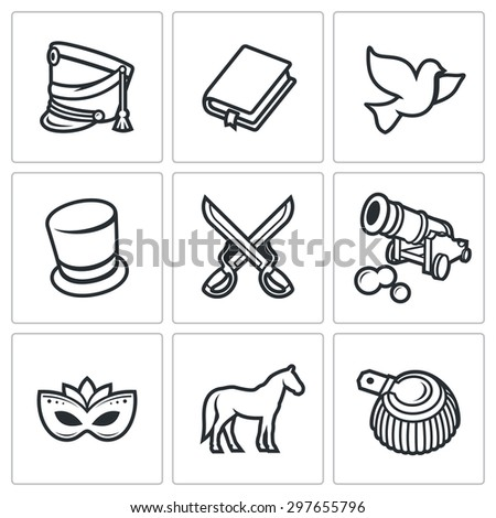 Hussars. The novel War and Peace icons set. Vector Illustration. Isolated Flat Icons collection on a white background for design - stock vector