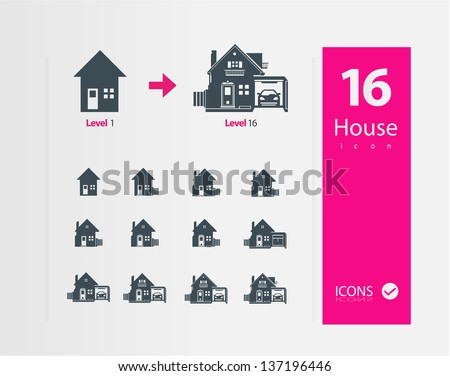 Huuse icons ( Set of 16 Quality icons ) - stock vector