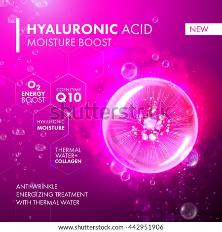 Hyaluronic Acid Moisture Boost. O2 collagen water molecule pink bubble drop. Skin care marine oxygen formula treatment design. Coenzyme anti wrinkle thermal water solution. - stock vector