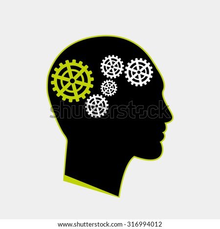Hybrid human icon with gears inside original art - stock vector