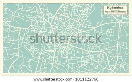 Hyderabad india city map retro style stock vector 1011122968 hyderabad india city map in retro style outline map vector illustration gumiabroncs Choice Image