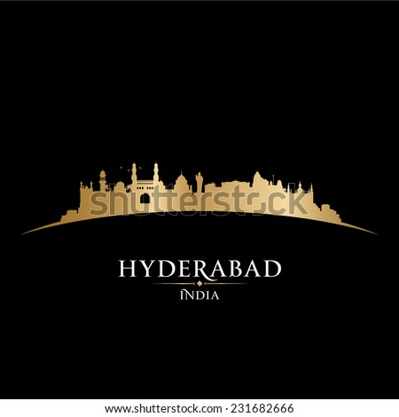 Hyderabad India city skyline silhouette. Vector illustration - stock vector