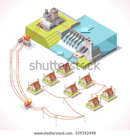 Hydroelectric Power Plant Factory Electric Water Stock Vector