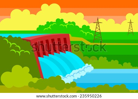 hydroelectric station - stock vector