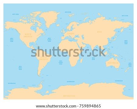 Hydrological Map World Labels Oceans Seas Stock Vector - Map of world oceans