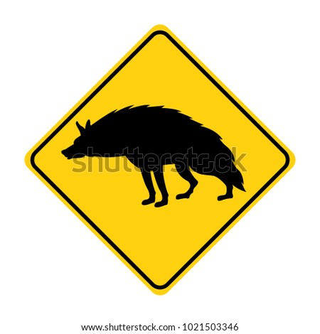 hyena silhouette animal traffic sign yellow  vector illustration