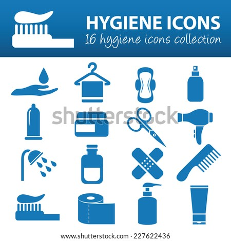 hygiene icons - stock vector