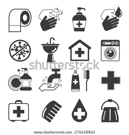 hygiene icons set - stock vector