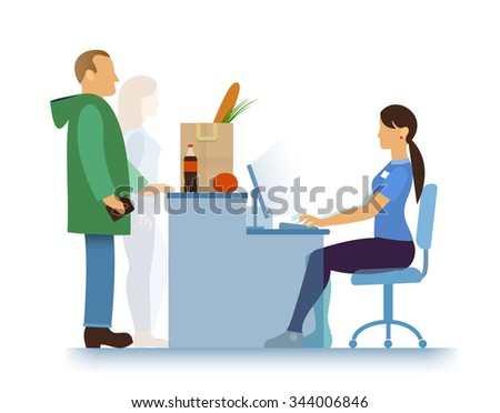 hypermarket, supermarket or small store, shopping bag with food (greens, baguette bread, tomato, grapefruit or apple) and drink, seller-girl and buyers - stock vector