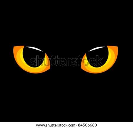 Hypnotic yellow cat eyes in darkness. Vector illustration - stock vector