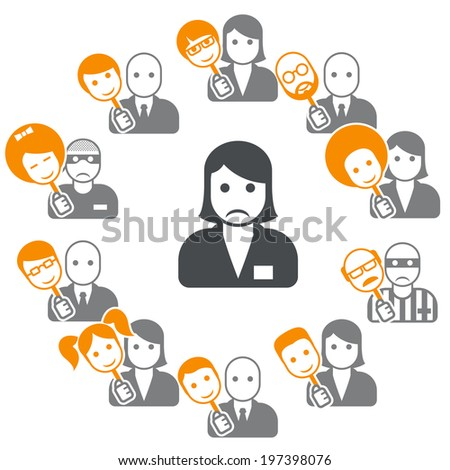 Hypocrisy - dissimulation in internet and social networks - stock vector