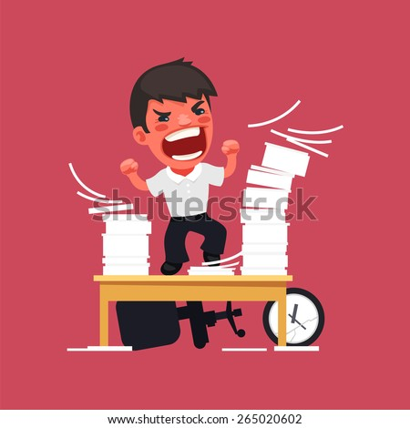 Hysterical Angry Manager Working at the Office. In the EPS file, each element is grouped separately. - stock vector