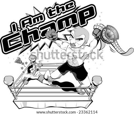I am the champion ! black and white vector - stock vector