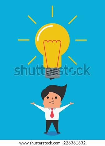 I have got big idea. Cute character of businessman showing his big idea, represent with glowing lightbulb. Flat design in simple design.