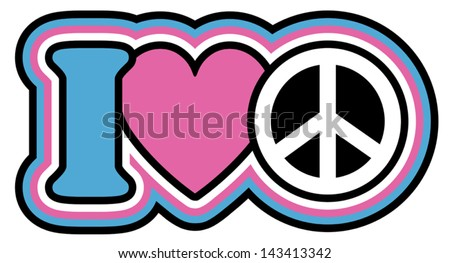 I Heart Peace icon design in Pink and Blue - stock vector
