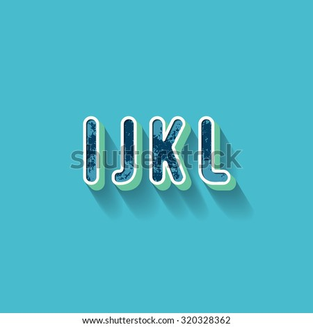 I J K L - 3D Plastique Alphabet - Typography with grunge blue texture and long shadow effect - Vector Illustration - Graphic resource - stock vector