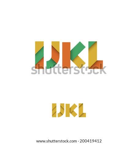 I J K L Modern Colored Layered Font or Alphabet - Vector Illustration - stock vector