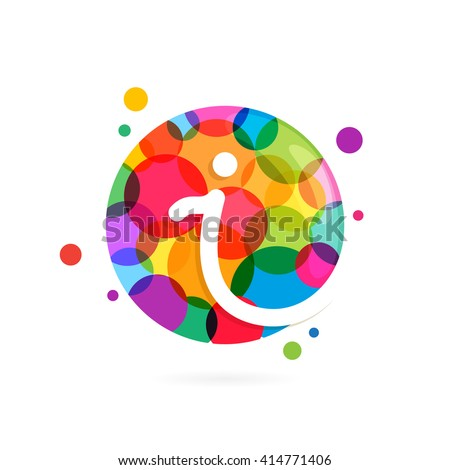 I letter logo in circle with rainbow dots. Font style, vector design template elements for your application or corporate identity.