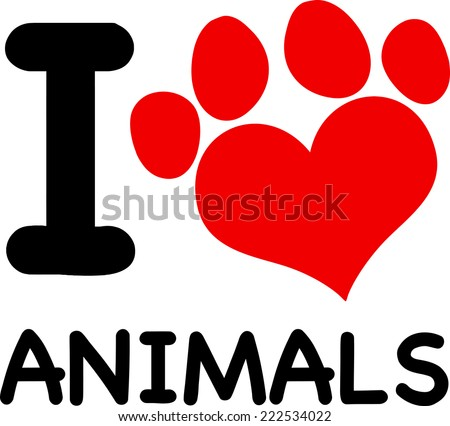 I Love Animals Text With Red Heart Paw Print. Vector Illustration Isolated on white - stock vector
