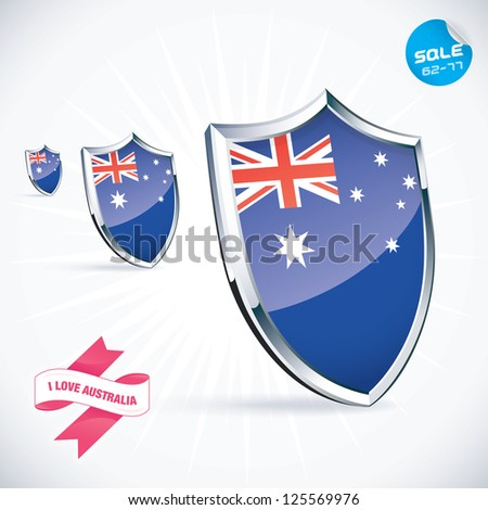 I Love Australia Flag Illustration, Sign, Symbol, Button, Badge, Icon, Logo for Family, Baby, Children, Teenager, People - stock vector