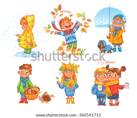 I love autumn. Boy throws up autumn leaves. Girl under umbrella. Boy gathers mushrooms in the forest. Girl collects leaves. Funny cartoon character. Vector illustration. Isolated on white background - stock vector