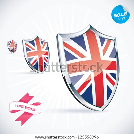 I Love Britain Flag Illustration, Sign, Symbol, Button, Badge, Icon, Logo for Family, Baby, Children, Teenager, People - stock vector